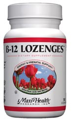 Maxi Health Kosher B12 Lozenges with Folic Acid and Biotin 360 Chewables