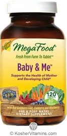 MegaFood Kosher Baby & Me California Blend Whole Food Prenatal Multivitamin & Mineral with Red Raspberry Leaf, Cranberry, and Blueberry  120 Tablets