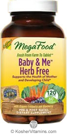 MegaFood Kosher Baby & Me Herb Free California Blend Whole Food Prenatal Multivitamin & Mineral with Red Raspberry Leaf, Cranberry & Blueberry 120 Tablets
