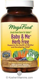 MegaFood Kosher Baby & Me Herb Free Whole Food Prenatal Multivitamin & Mineral with Red Raspberry Leaf, Cranberry & Blueberry  120 Tablets