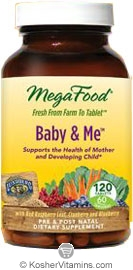 MegaFood Kosher Baby & Me Whole Food Prenatal Multivitamin & Mineral with Red Raspberry Leaf, Cranberry and Blueberry 120 Tablets