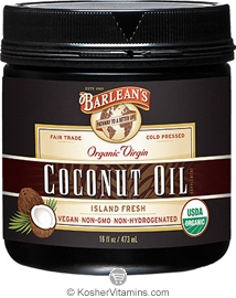 Barlean's Kosher Coconut Oil Organic Virgin Cold Pressed 16 OZ