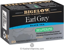 Bigelow Kosher Earl Grey Black Tea Decaffeinated 20 Tea Bags