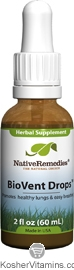 Native Remedies Kosher BioVent Drops Promotes Healthy Lungs 2 OZ