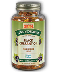 Health From The Sun Black Currant Oil 1000 mg. 100% Vegetarian Suitable not Certified Kosher 60 Vegetarian Softgels