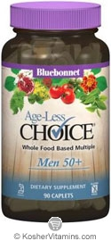 Bluebonnet Kosher Targeted Multiples Age-Less Choice Men 50+ Whole Food Based Multiple 90 Caplets