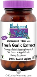 Bluebonnet Kosher Standardized Odor-Less Fresh Garlic Extract 90 Enteric Coated Caplets