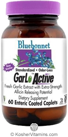 Bluebonnet Kosher Standardized Odor-Less GarLoActive Fresh Garlic Extract 60 Enteric Coated Caplets