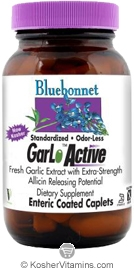 Bluebonnet Kosher Standardized Odor-Less GarLoActive Fresh Garlic Extract 90 Enteric Coated Caplets