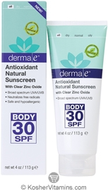 Derma E Antioxidant Natural Sunscreen SPF 30 Body Lotion 4 OZ