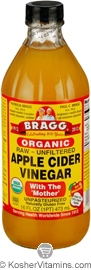 Bragg Kosher Apple Cider Vinegar Raw Organic 16 OZ