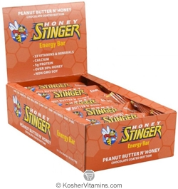 Honey Stinger Kosher Energy Bar Peanut Butter N' Honey Dairy 15 Bars