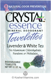 Crystal Essence Mineral Deodorant Towelettes Lavender & White Tea - Free with a $49 Purchase 1 Packet