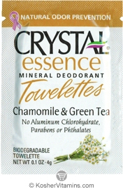 Crystal Essence Mineral Deodorant Towelettes Chamomile & Green Tea - Free with a $49 Purchase 1 Packet