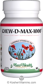 Maxi Health Kosher Chew D Max (Vitamin D3) 1000 IU Chewable Berry Flavor 100 Tablets