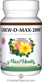 Maxi Health Kosher Chew D Max (Vitamin D3) 2000 IU Chewable Bubble Gum Flavor 200 Tablets