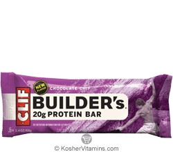 Clif Kosher Builder's 20g Protein Bar Chocolate Chip Dairy 12 Bars