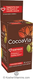 CocoaVia Kosher Daily Cocoa Extract Supplement 375 mg NEW & IMPROVED 60 Vegetarian Capsules