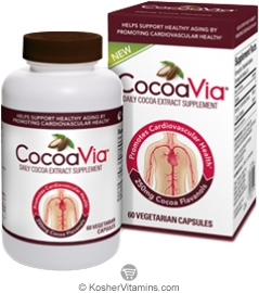 CocoaVia Kosher Daily Cocoa Extract Supplement 60 Vegetarian Capsules