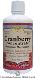 Only Natural Kosher Cranberry Juice Concentrate  100% Pure Organic 32 OZ
