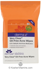 Derma E Very Clear Oil-Free Acne Wipes 25 Wipes