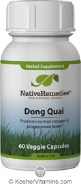 Native Remedies Kosher Dong Quai 1000 Mg Promotes Healthy Estrogen & Progesterone Levels 60 Vegetable Capsules