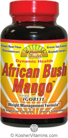 Dynamic Health African Bush Mango Vegetarian Suitable Not Certified Kosher 60 Vegetarian Capsules