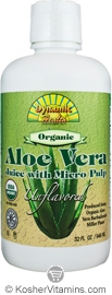 Dynamic Health Kosher Aloe Vera Juice with Micro Pulp Organic Unflavored 32 OZ