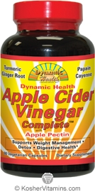 Dynamic Health Apple Cider Vinegar Complete Vegetarian Suitable not Certified Kosher 90 Vegetarian Capsules