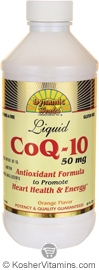 Dynamic Health Kosher CoQ-10 50 Mg (Coenzyme) Liquid Orange Flavor 8 OZ
