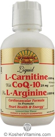 Dynamic Health Kosher L-Carnitine with CoQ-10 plus L-Arginine Liquid Lemon-Lime Flavor 16 OZ