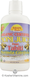 Dynamic Health Kosher Noni Juice from Tahiti Organic Liquid Raspberry Flavor 32 OZ