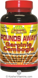 Dynamic Health Pounds Away with Garcinia Cambogia Vegetarian Suitable Not Certified Kosher 90 Vegetarian Capsules