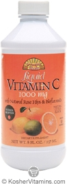 Dynamic Health Kosher Vitamin C 1000 Mg with Rose Hips & Bioflavonoids Liquid Citrus Flavor 8 OZ