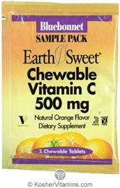 Bluebonnet Kosher EarthSweet Vitamin C 500 Mg Chewable Orange Flavor - Free with a $49 Purchase 1 Pack