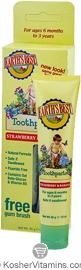 Earth's Best Kosher Toddler Toothpaste Strawberry & Banana (Free Gum Brush Included) 1.6 OZ