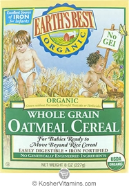 Earth's Best Kosher Whole Grain Oatmeal Cereal Organic 8 OZ