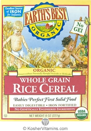 Earth's Best Kosher Whole Grain Rice Cereal Organic 8 OZ