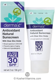 Derma E Antioxidant Natural Sunscreen SPF 30 Oil-Free Face Lotion 2 OZ