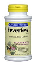 Natures Answer Standardized Feverfew Herb Extract Vegetarian Suitable not Certified Kosher 90 Vegetable Capsules