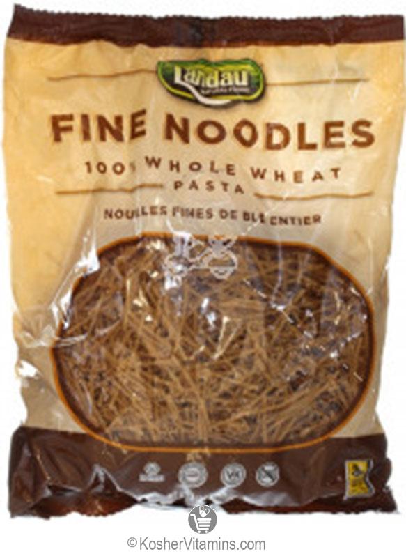 Landau Kosher 100 Whole Wheat Fine Noodles Pasta 12 Oz