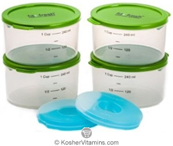 Fit & Fresh Smart Portion 1 Cup Container Set with Removable Ice Packs 4 Pack