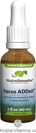 Native Remedies Kosher Focus ADDult 2 OZ