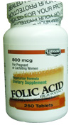 Landau Kosher Folic Acid 800 Mcg 250 Tablets