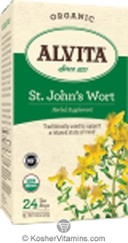 Alvita Kosher St. Johns Wort Herbal Tea Organic Caffeine Free 24 Tea Bags