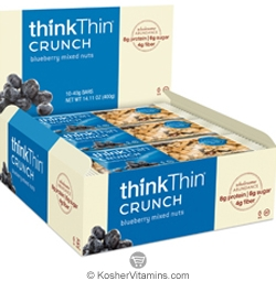 ThinkThin Kosher Crunch Bar Blueberry Mixed Nuts Dairy 10 Bars