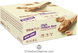 ThinkThin Kosher High Protein Bar Creamy Peanut Butter Dairy 10 Bars