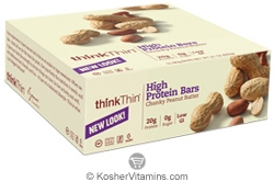 ThinkThin Kosher Protein Bar Chunky Peanut Butter Dairy 10 Bars