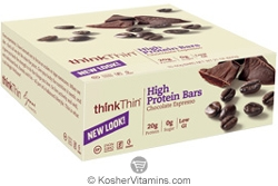 ThinkThin Kosher High Protein Bar Chocolate Espresso Dairy 10 Bars