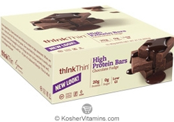 ThinkThin Kosher High Protein Bar Chocolate Fudge Dairy 10 Bars